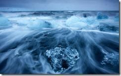 Icebergs in Surf by Jokulsarlon, Iceland