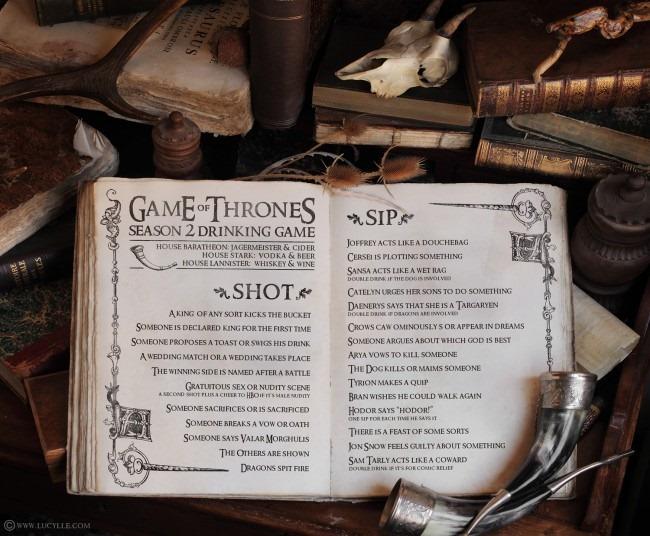 Un juego para beber, basado en Game of Thrones