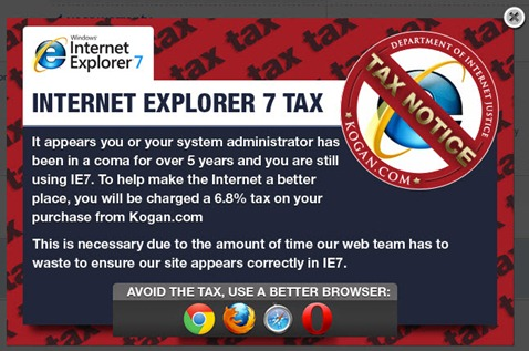 kogan ie7 taxes warning - unpocogeek.com