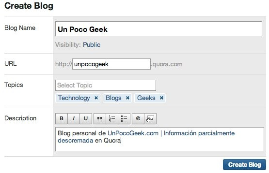 blog creation form in quora - unpocogeek.com