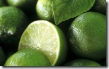 Limes, several whole and one halved