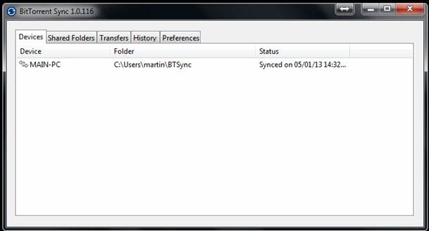 bittorrent sync main window - unpocogeek.com