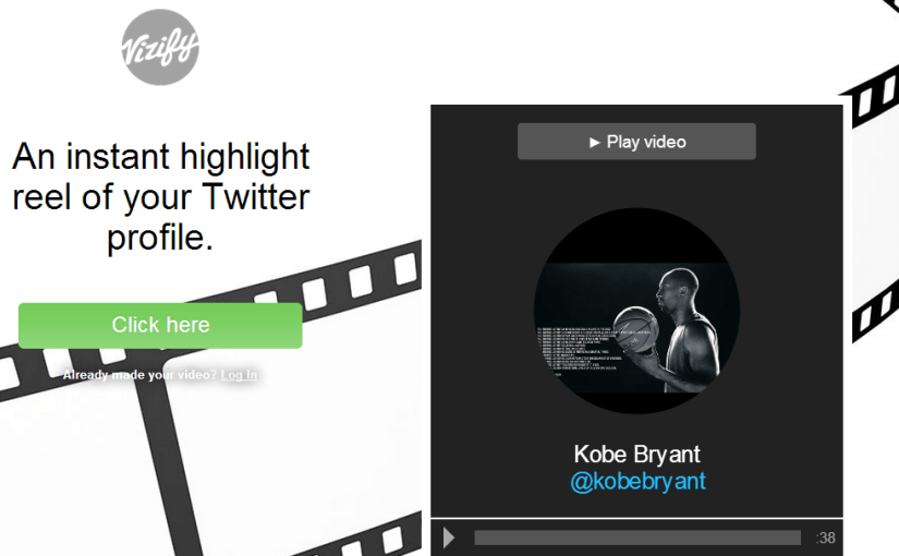 Crea un dramático video sobre tu twitter con Vizify