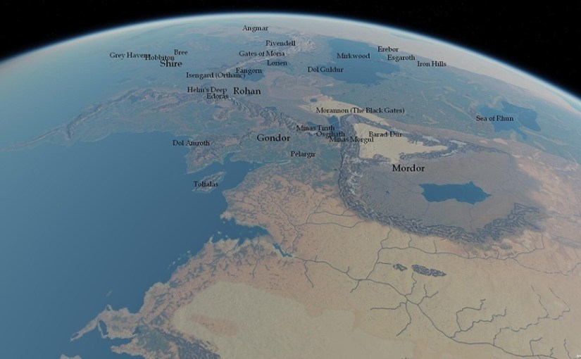 Mapa de la tierra media en 3D