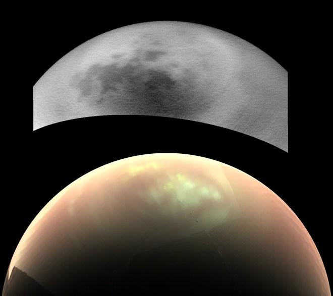 Titan, fotografía de la nave espacial cassini de esta luna de Saturno