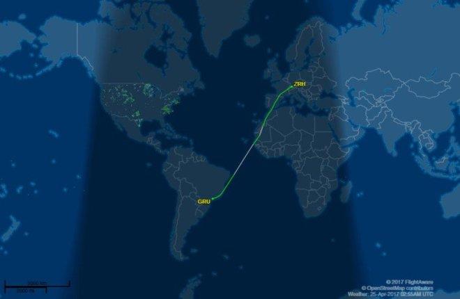 ruta de vuelo time lapse suiza a brasil