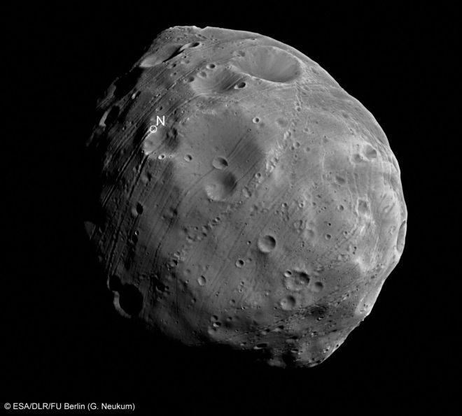 Una imagen de primer plano de la luna marciana Phobos.