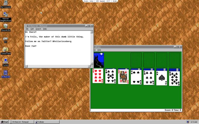 windows 95 como si de una aplicación más se tratase