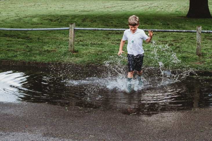 Splashing in puddles