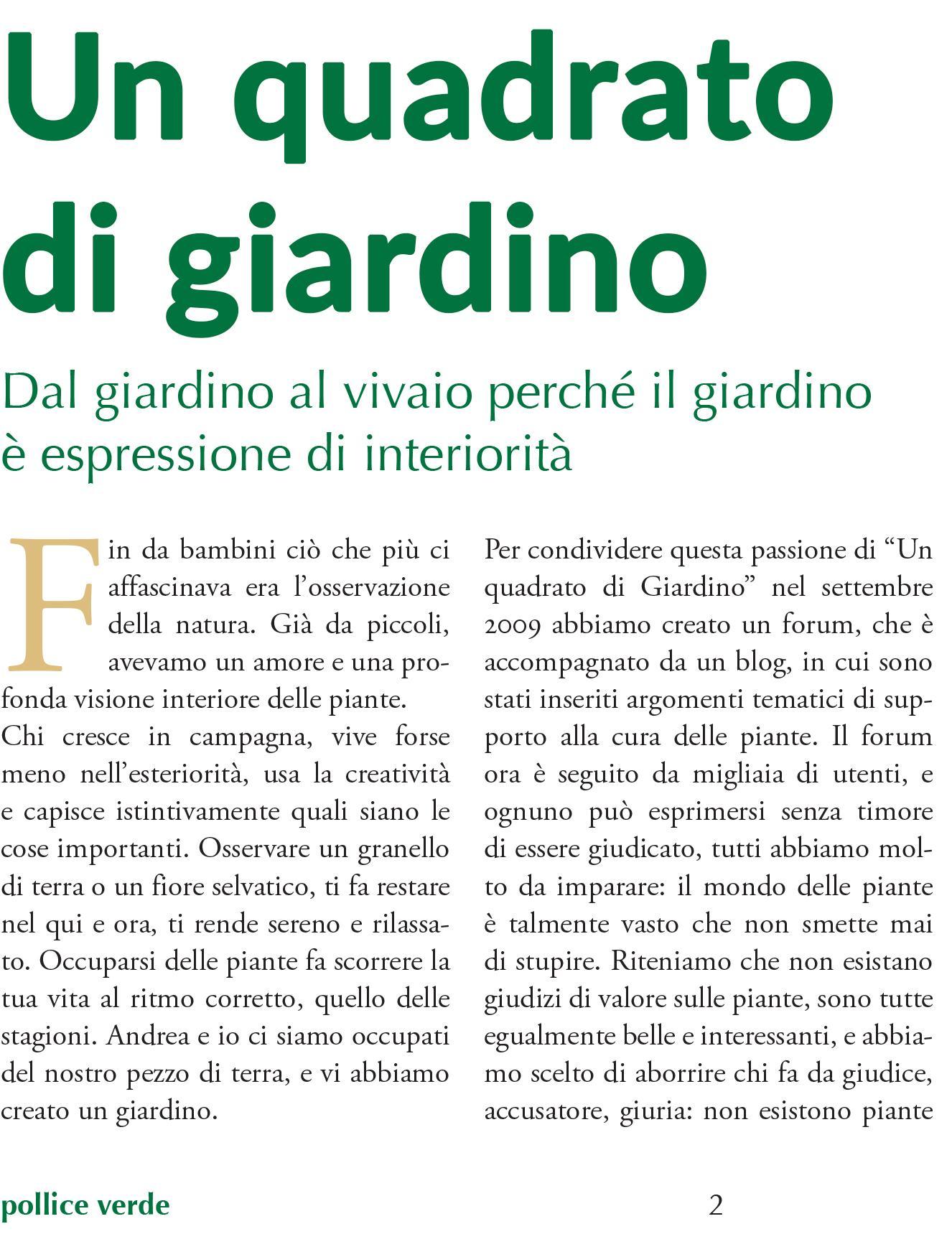 Articolo da rivista Giardini  Autunno 2014