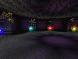 Screenshot of the Monster Hunt map, Birdbrained Research, showing the main lobby and portal area.