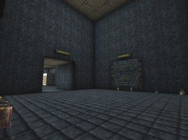 Screenshot of the Monster Hunt map, Birdbrains, showing a very basic room of the Birdbrain Bird Research Center.