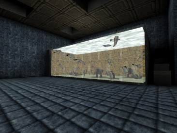 Screenshot of the Monster Hunt map, Birdbrains, showing the captive cows and birds inside of the Birdbrain Bird Research Center.
