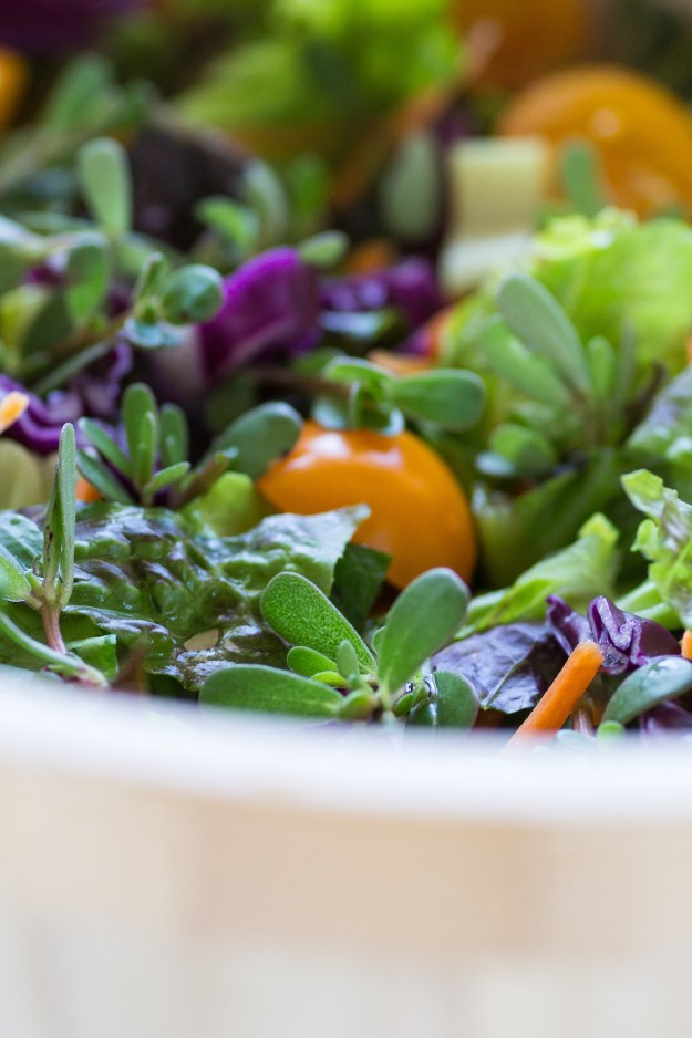 Big Salad with Purslane by An Unrefined Vegan
