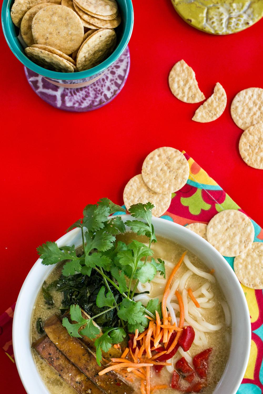 Garlic-Miso Bomb Noodle Soup. Oil-free & Gluten-free Option.