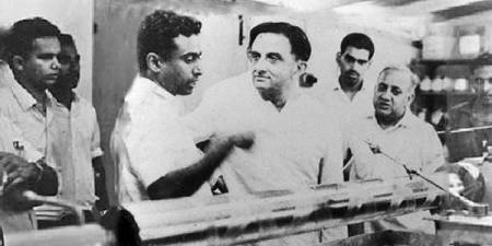 Dr Sarabhai and Dr Kalam. A photograph from the early stages of the Indian space programme