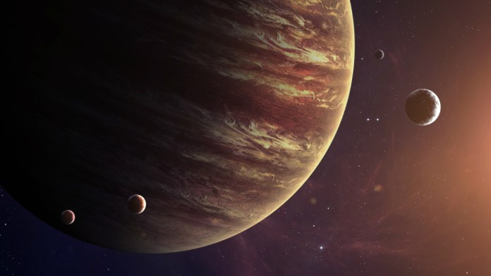 An Artistic Illustration Of Big Planet Jupiter with it's moon.
