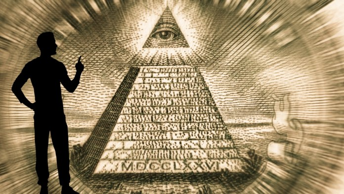 Man Looking at Eye of Providence and Thinking About Conspiracy theory.