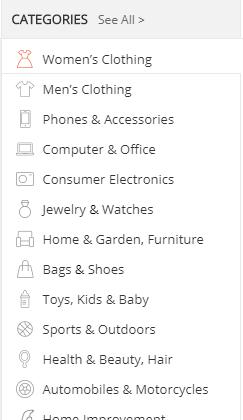 AliExpress Review Categories