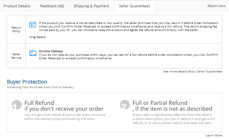 AliExpress Review Buyers Protection