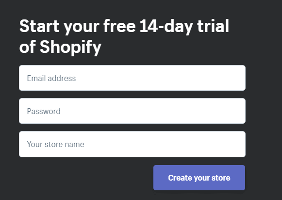 14 day free trial for shopify