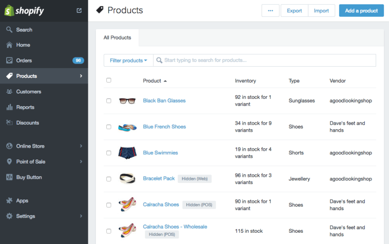 Shopify Product Interface