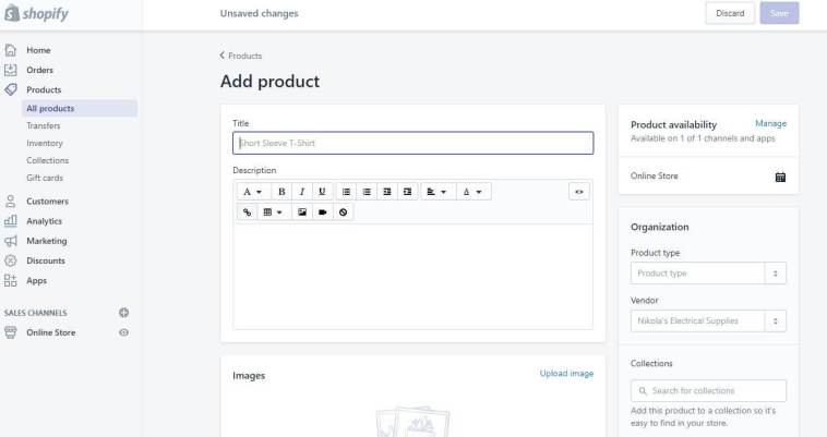 Shopify Add Product Screen