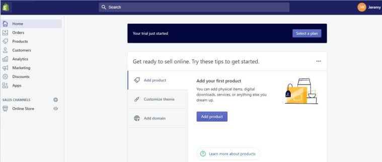 Shopify Dashboard and On Screen Instructions