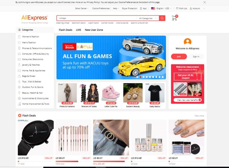 AliExpress Marketplace Interface