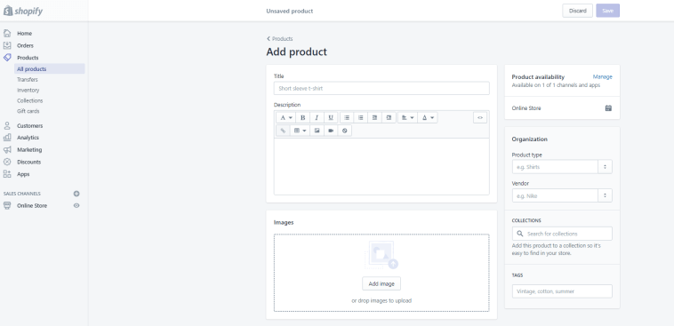 Shopify Add Products