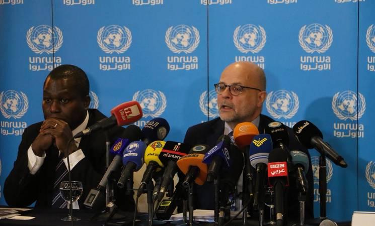 Director of UNRWA Affairs in Lebanon, Claudio Cordone, and Acting Director of UNRWA Affairs in Syria, Michael-Ebye Amanya, launch the 2019 UNRWA Syria Regional Crisis Emergency Appeal totaling US$ 276.9 million. © 2019 UNRWA Photo by Rabie Akel