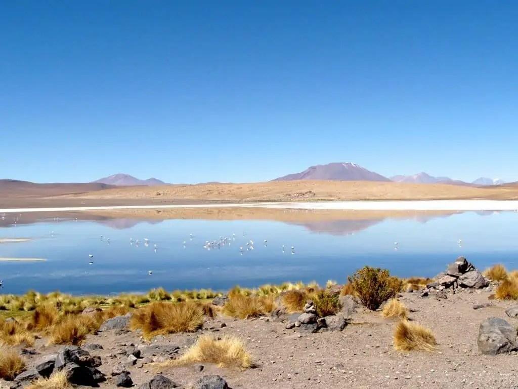 Lagune et montagne, Uyuni, Bolivie