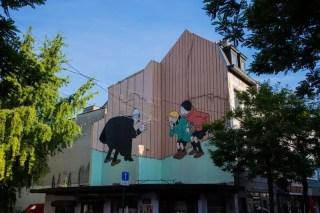 Fresque murale de la bande dessinée de Quick et Flupke