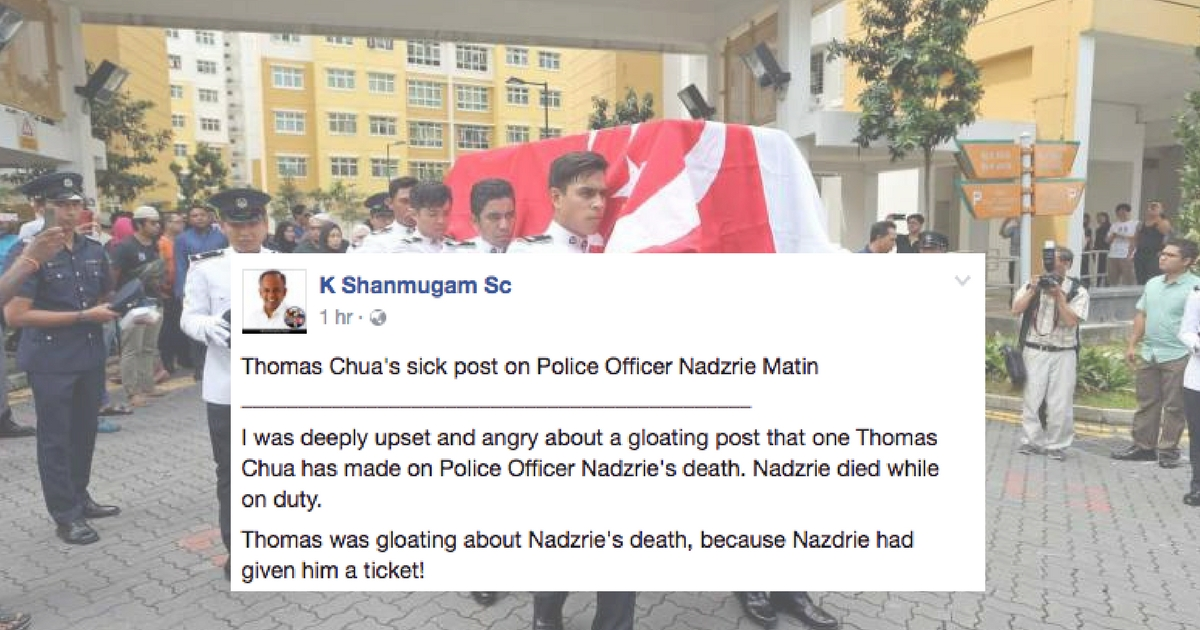 """Minister Shanmugam angry over Facebook user's """"sick post"""