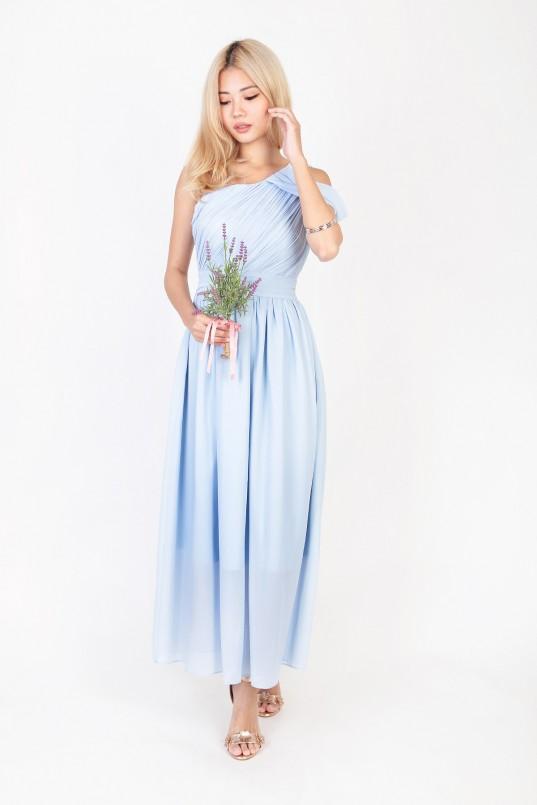Bridesmaid dress MGP KEYERS DRAPE TOGA DRESS IN SKY BLUE