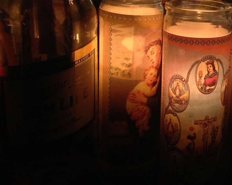 St Francis Baby Candle Beer Bottle