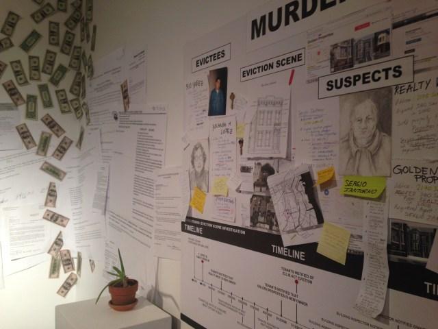 """Murder Board in """"Home/Studio: Eviction Scene Investigation"""" (MCCLA, 2014)"""