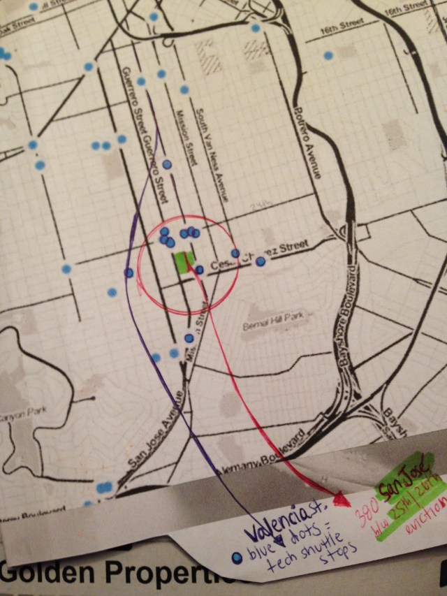 Map used in Home/Studio: Eviction Scene Investigation. The blue dots are tech shuttle stops. The green patch is Yolanda's block. From a warfare point of view, she stood surrounded by eviction forces.