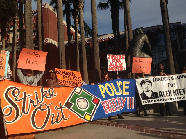 Organizers, activists, artists at AT&T Park, during 2014 Pennant race
