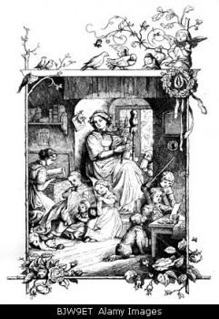 """literature, aphorisms, """"Und drinnen waltet die zuchtige Hausfrau"""", woodcut by Ludwig Richter (1803 - 1884), 19th century, histor"""