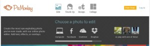 PicMonkey's homepage edit menu screenshot