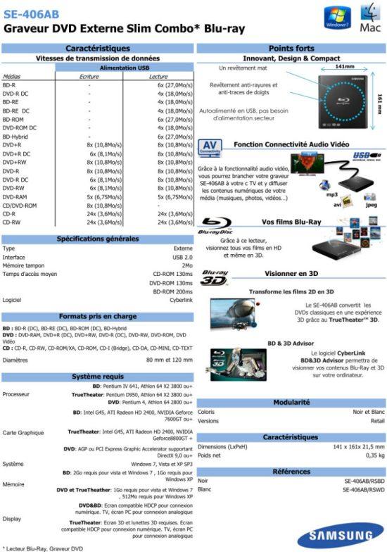 Caractéristiques techniques du lecteur Samsung SE-406AB