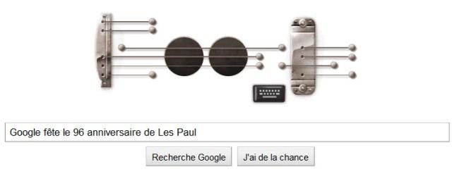 Doodle Google pour célébrer le 96ème anniversaire de Les Paul