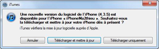 Mise à jour iOS 4.3.5