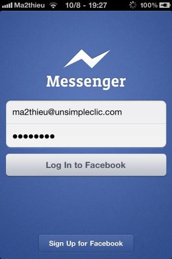 Facebook Messenger : Connexion à votre compte