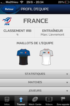 Rugby World Cup 2011 New Zealand - Profil Equipe [iPhone]