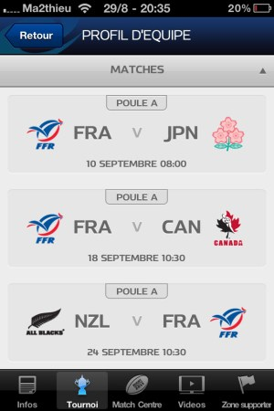 Rugby World Cup 2011 New Zealand - Matches Equipe [iPhone]