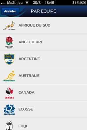 Rugby World Cup 2011 New Zealand - Filtre infos [iPhone]