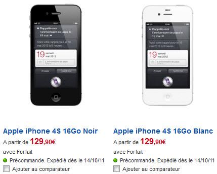 iPhone 4S - Tarifs SFR du modèle 16Go