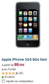 iPhone 3GS - Tarif SFR du modèle 8Go